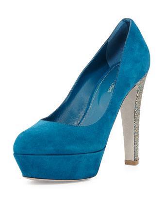 Metallic-Heel Platform Pump, Blue