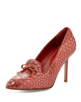 Snake-Embossed Loafer Pump, Brick