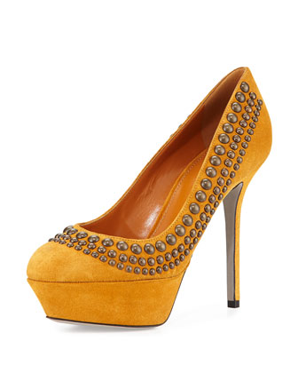 Studded Suede Platform Pump, Gold