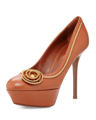 Zipper-Flower Leather Pump, Medium Brown