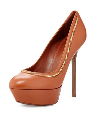 Zipper-Trim Platform Pump, Medium Brown