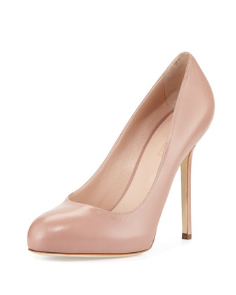 Leather Round-Toe Pump, Skin