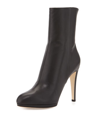 High-Heel Leather Boot, Black