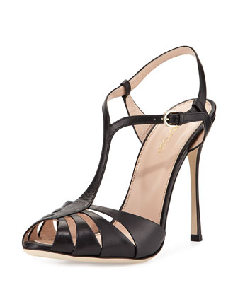 Y-Strap Leather Sandal, Black