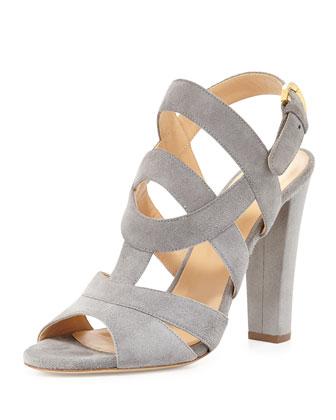 Suede Block-Heel Sandal, Gray