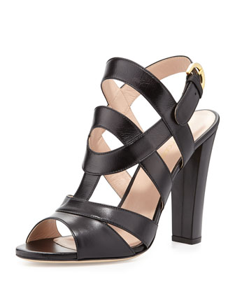 Leather Block-Heel Sandal, Black