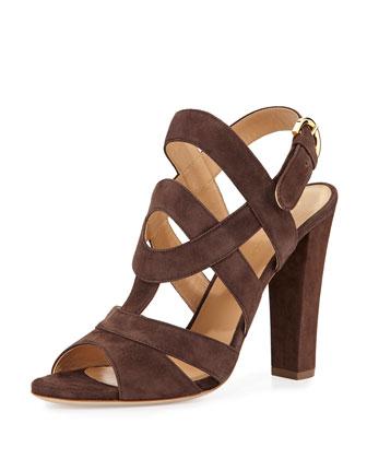 Suede Block-Heel Sandal, Tan