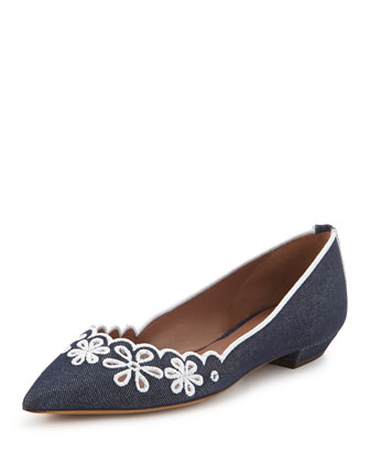 Daisy Chain Laser-Cut Denim Skimmer, Navy