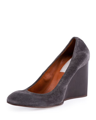 Velvet Suede Ballerina Wedge Pump, Anthracite