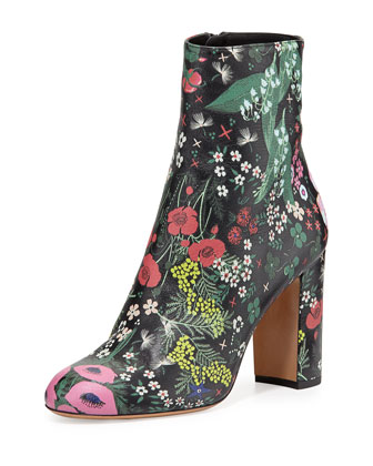 Garden-Print Leather Boot, Nero