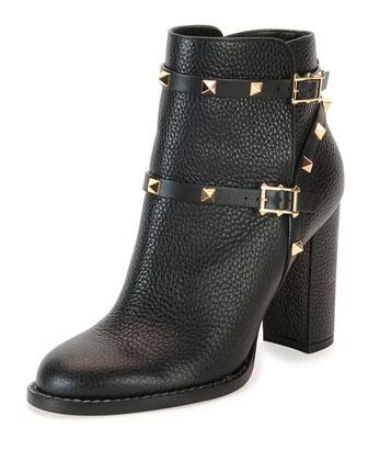 Rockstud Chunky-Heel Boot, Black