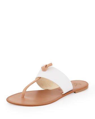 Nice T-Strap Thong Flat Sandal, White/Natural