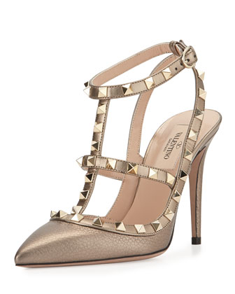 Rockstud Metallic Leather Sandal, Sasso