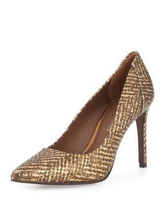 Presli Metallic Snake-Embossed Pump, Bronze