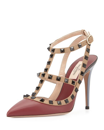 Lacquered Rockstud Leather Pump, Red