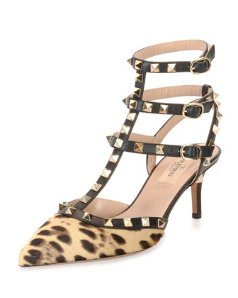Rockstud Calf-Hair Sandal, Leopard