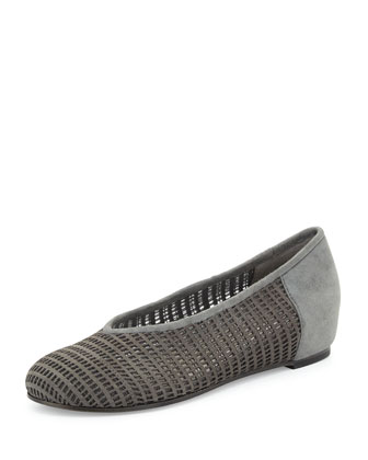 Patch Perforated Suede Flat