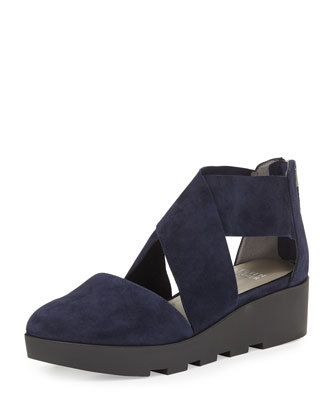Buoy Crisscross Suede Wedge Sandal