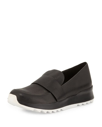 Leather Penny Loafer-Trainer, Black