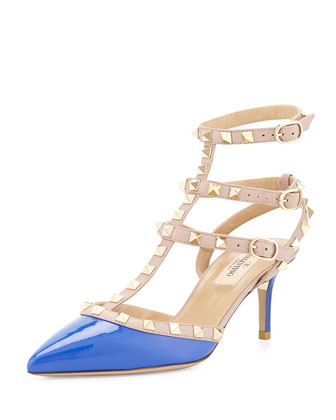 Rockstud Patent Leather Sandal, Light Sapphire