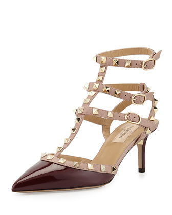 Rockstud Patent Leather Mid-Heel Pump, Rubin