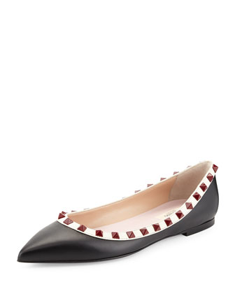 Lacquered Rockstud Ballerina Flat, Nero/Ivory