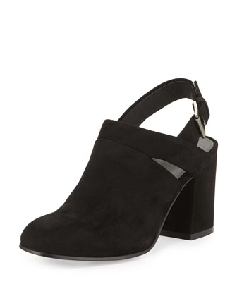 Stack Suede Slingback Bootie, Black