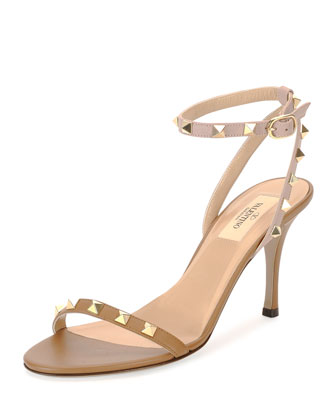Rockstud Naked Leather Sandal, Nude