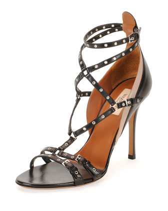 Grommet-Stud Strappy Sandal, Black/Nude