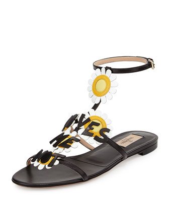 Love-Me Daisy Sandal, Black/White/Yellow