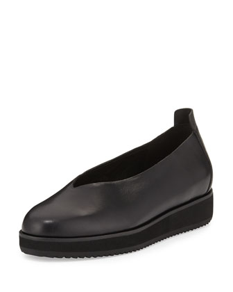 Canoe Leather Slip-On Flat, Black