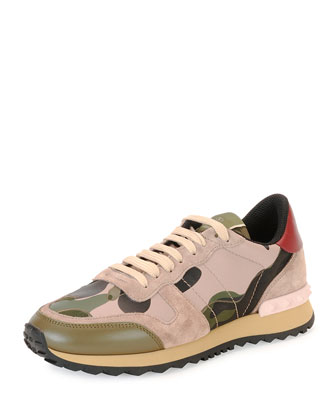 Camo Rockstud Leather Sneaker, Green/Poudre/Nero