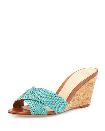 Woven Watersnake Wedge Sandal, Aqua