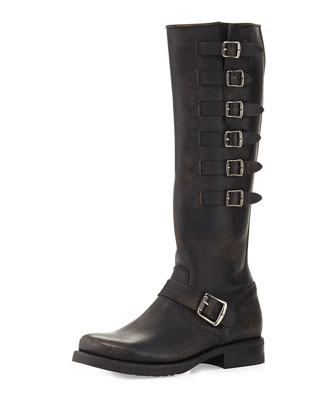 Veronica Belted Tall Leather Boot, Black