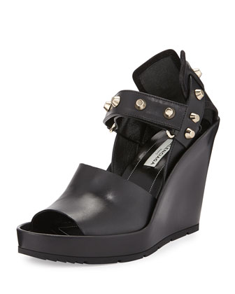Studded Leather Wedge Sandal, Black (Noir)