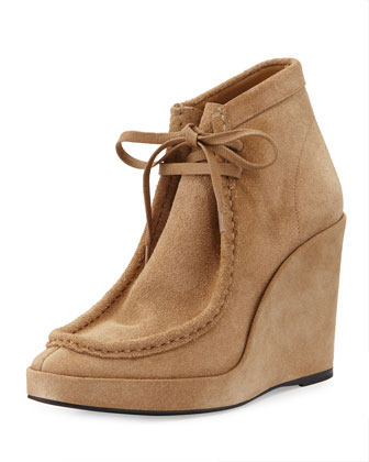 Suede Lace-Front Wedge Boot, Camel