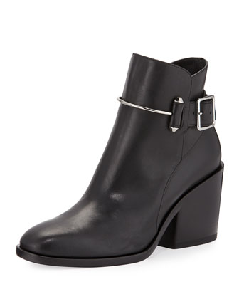Leather Chunky-Heel Ankle Boot, Black
