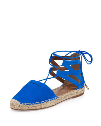Belgravia Suede Closed-Toe Espadrille, Blue
