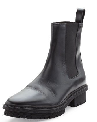 Leather Tread Sole Chelsea Boot, Noir