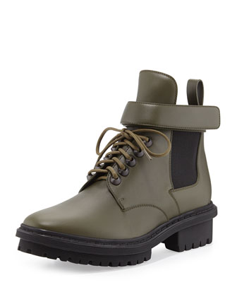 Leather Lace-Up Hiking Boot, Vert Khaki