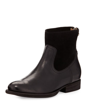 Jamie Short Leather/Suede Bootie, Black