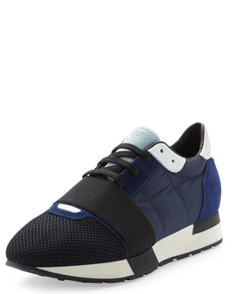 Multicolor Mesh & Leather Sneaker, Blue
