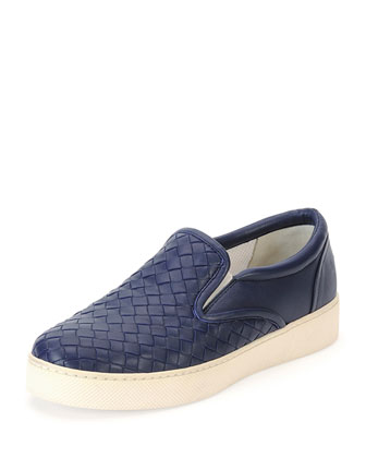Napa Intrecciato Woven Skate Sneaker, Atlantic Blue