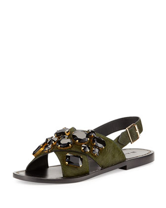 Jeweled Calf-Hair Flat Sandal, Pine