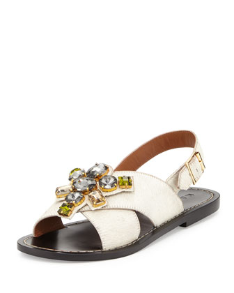 Jeweled Calf-Hair Flat Sandal, White