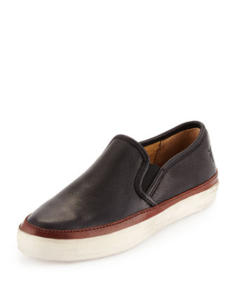Gavin Leather Slip-On Skate Sneaker, Black