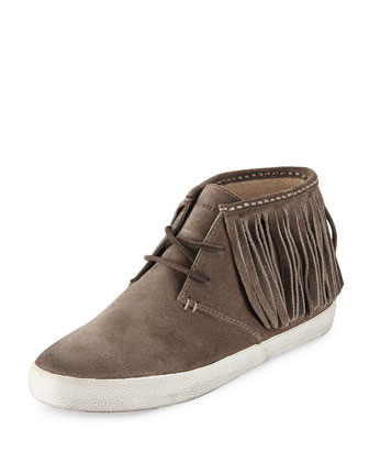 Dylan Fringe Suede Ankle Boot, Gray