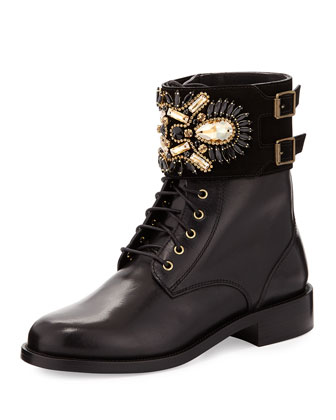 Crystal-Cuff Leather Boot, Black