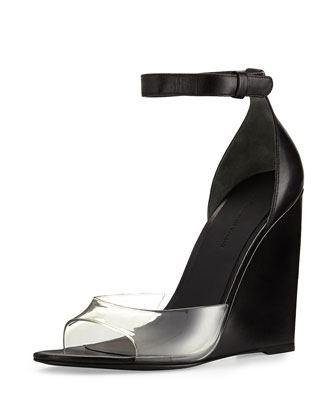 Erika Naked Wedge Sandal, Black