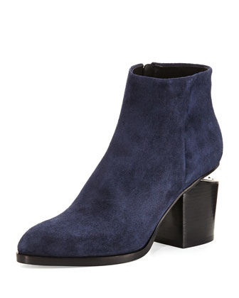 Gabi Lift-Heel Suede Ankle Boot, Lake Navy